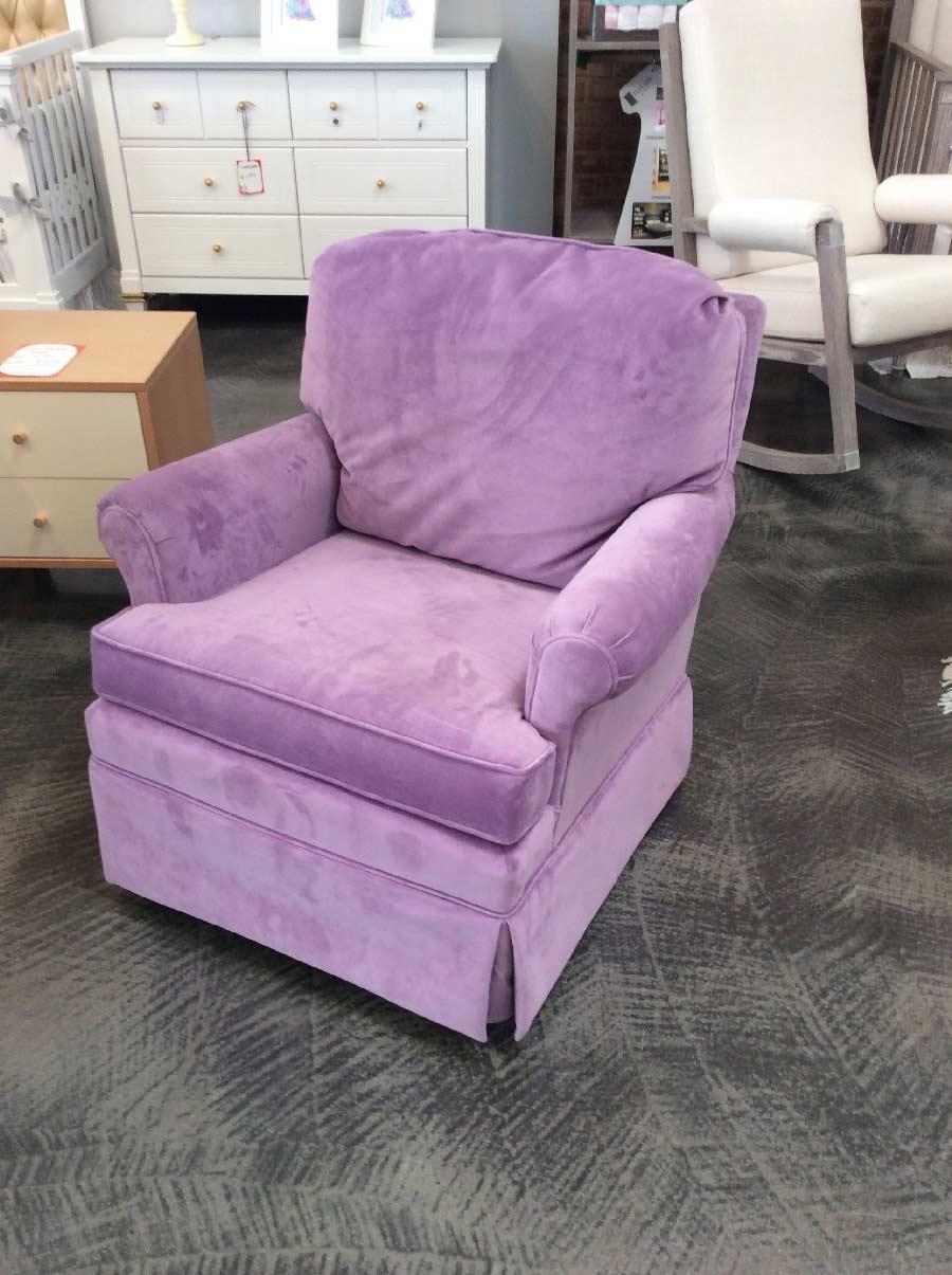 Swivel Glider Rocker Nursing Chair In Purple Microfiber