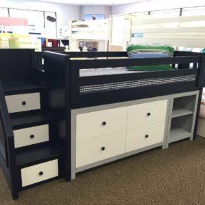 milano junior low loft with dresser and bookshelf