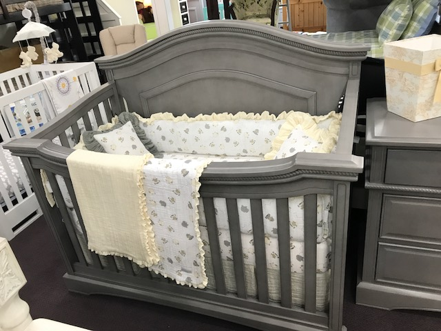 floor sample convertible crib in grey