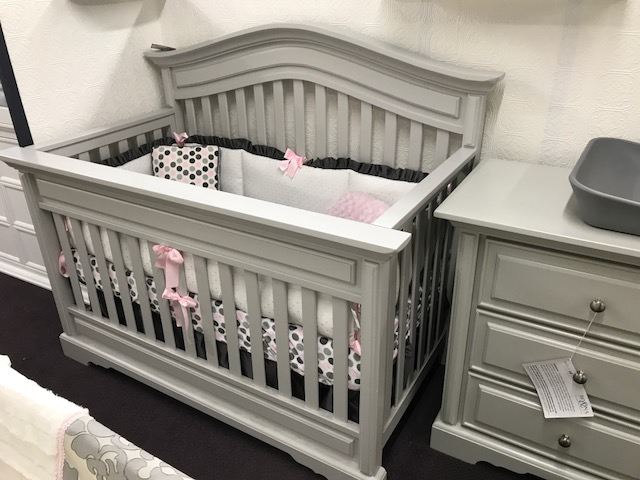 venice crib and dresser in grey