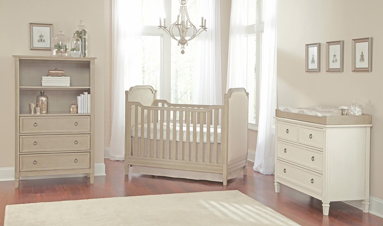 Brixy Haven Upholstered Cottage Crib In Heather Grey