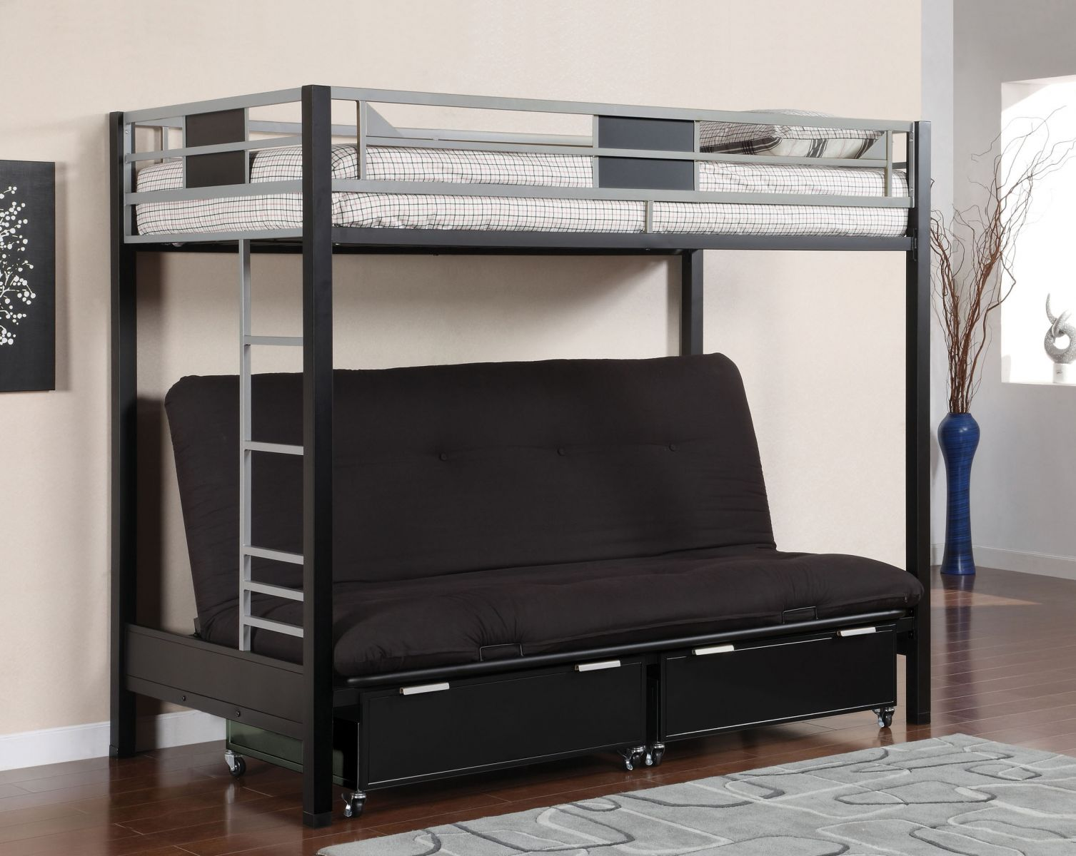 Clayton Twin Futon Metal Bunk Bed Kids Furniture In Los Angeles