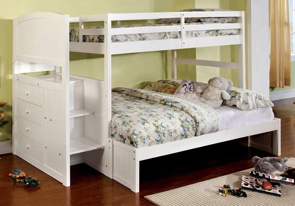 Penzel Twin Full Bunk Bed W Stairs Kids Furniture In Los