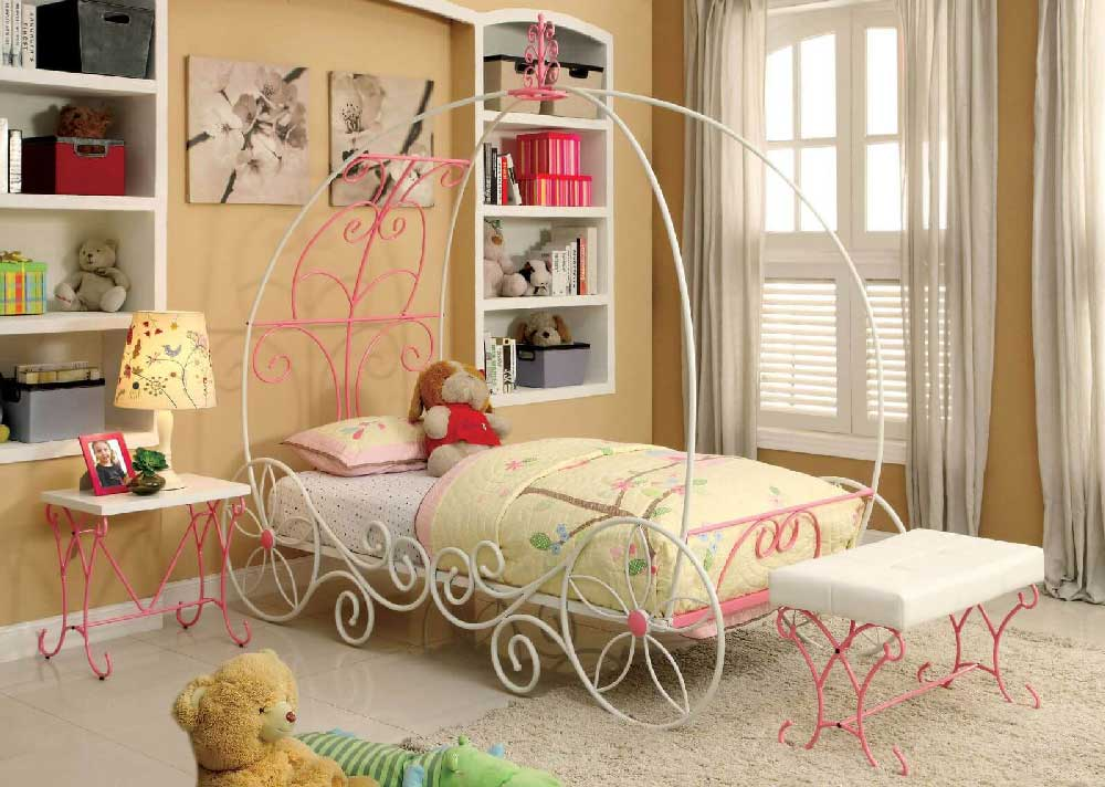 Pink Fairy Wishes Bench Seat With Storage Toy Box Seating: Enchanted Collection Princess Metal Bed