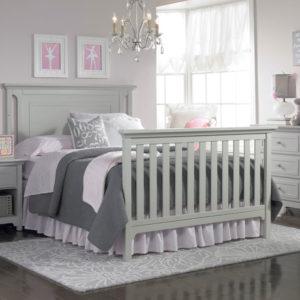 Carino Convertible Crib - Misty Grey Full Size