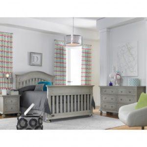 Dolce Babi Naples Convertible Crib in Grey Satin Full Size