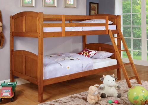 cm-bk903oak twin over twin bunk bed in oak