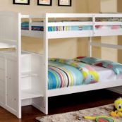 cm-bk922t twin/twin bunk with stairs in white