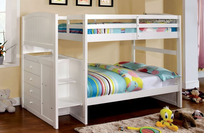 Penzel Twin Twin Bunk Bed W Stairs Kids Furniture In Los