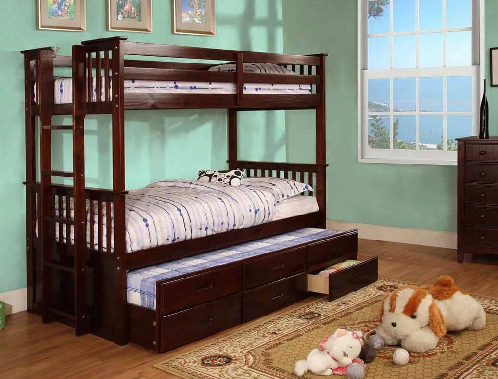 Harvard Twin Twin Bunk Bed W Trundle And Drawers Kids
