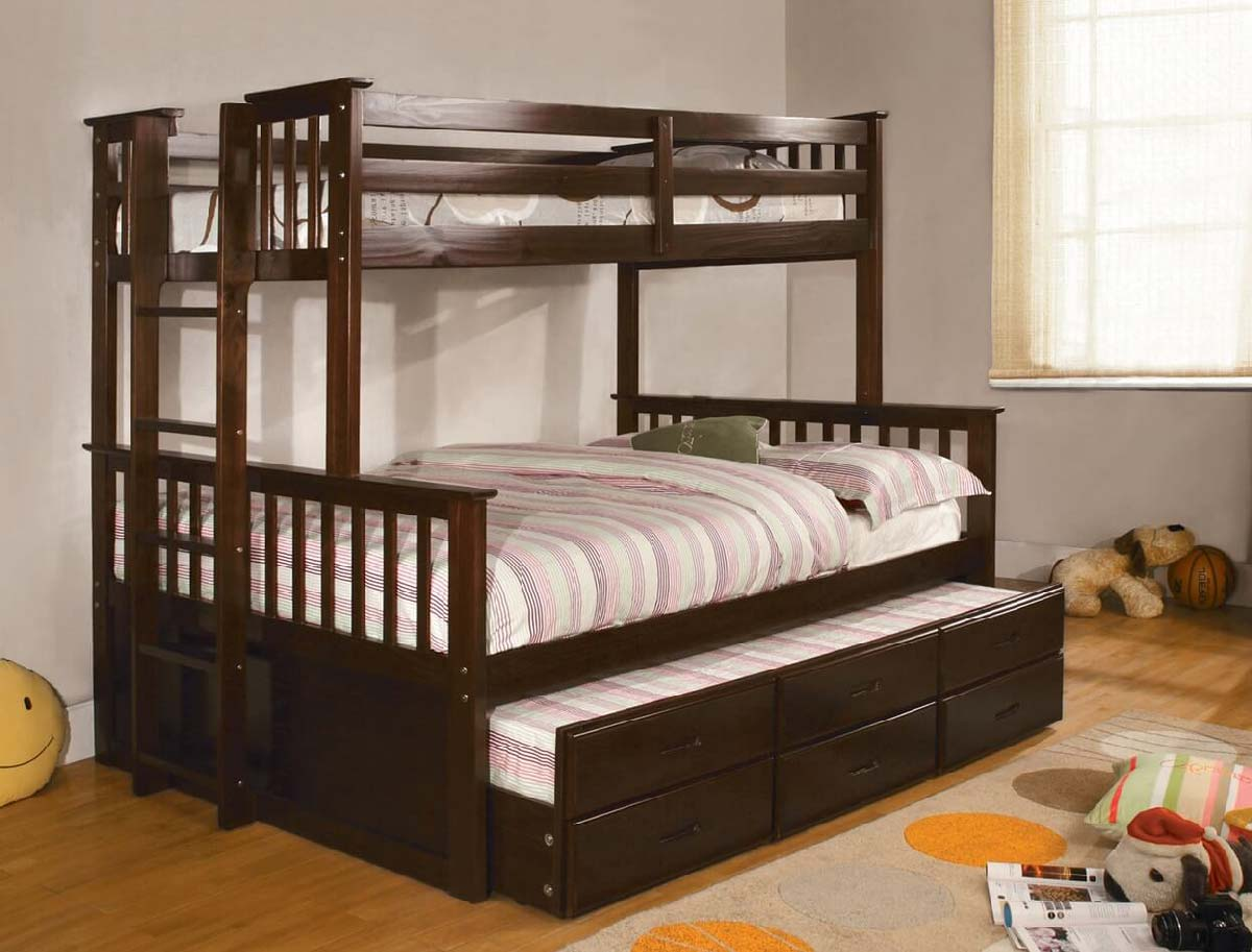Harvard Twin Full Bunk Bed W Trundle And Drawers Kids