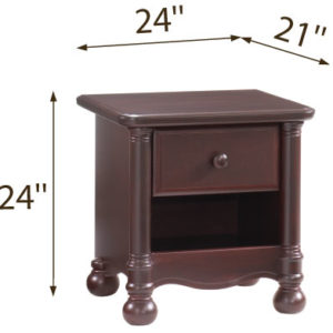 Avalon Nightstand in Cocoa Dimensions