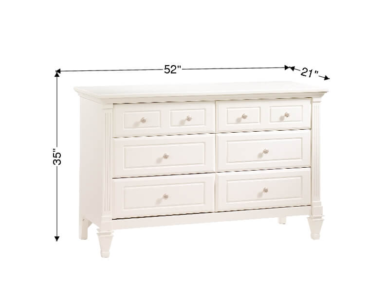 Belmont Double Dresser In French White Dimensions