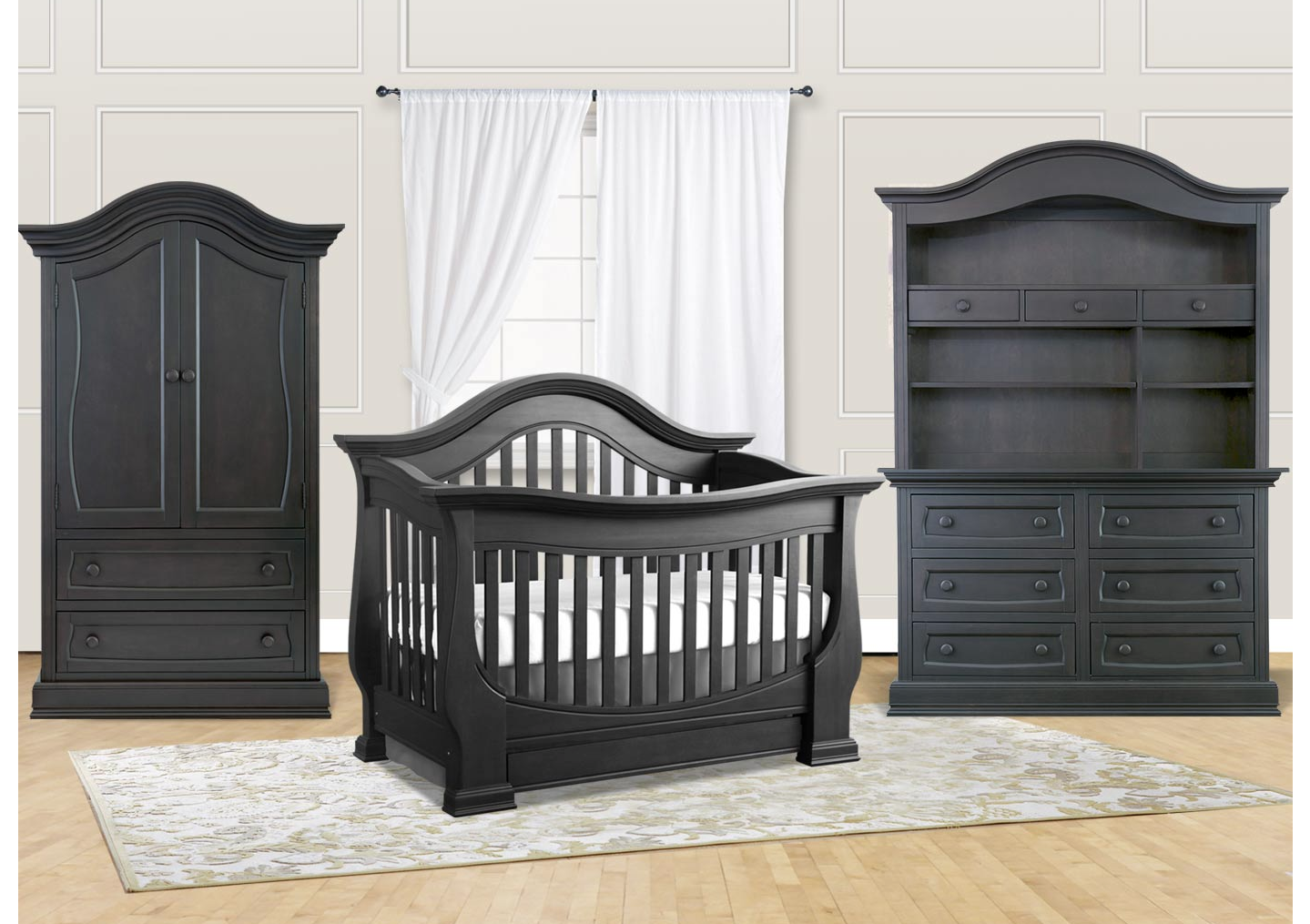 Baby Appleseed Davenport Convertible Crib In Slate Kids