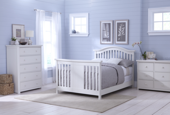 Baby Appleseed Stratford Convertible Crib in Pure White