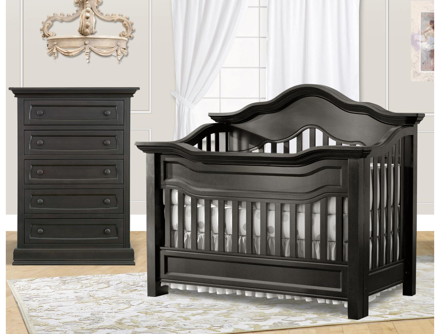 Baby Appleseed Millbury Convertible Crib In Slate Kids