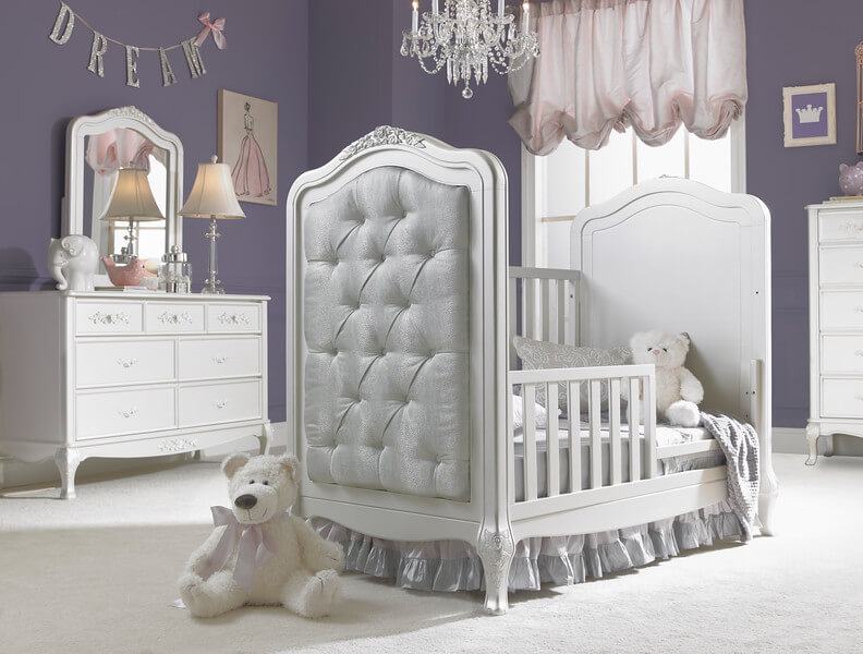 Dolce Babi Angelina Traditional Upholstered Crib In Pearl Kids Furniture In Los Angeles