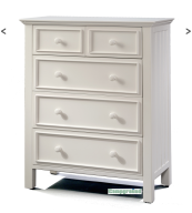 mushroom sherwood 5 drawer chest in white