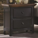 Mabel Collection Nightstand in Rustic Brown Rubbed Black