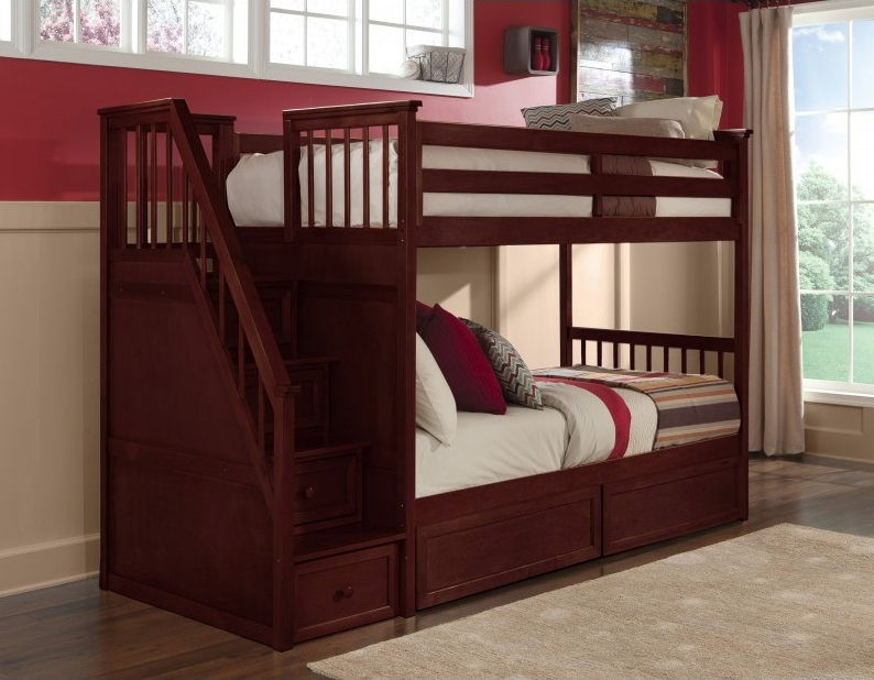 Bunk Bed With Stairs Cherry Kids Only Furniture