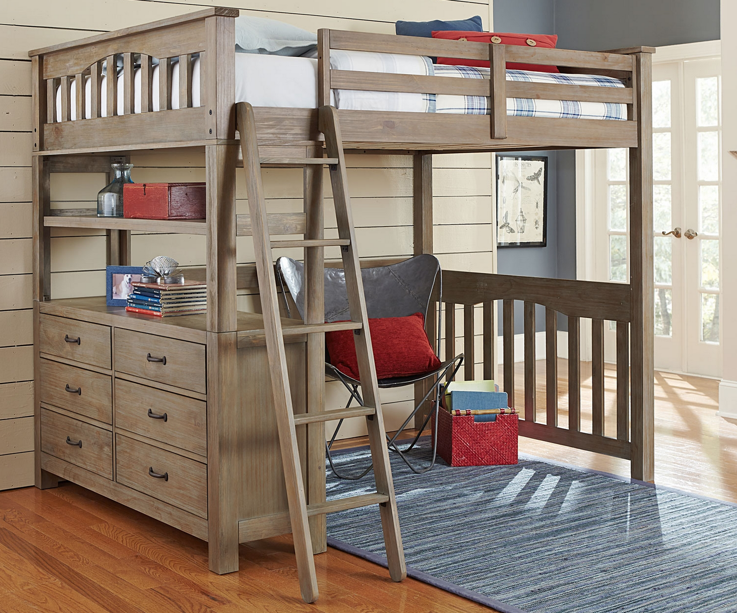 Kenwood Full Size Loft In Driftwood Kids Furniture In