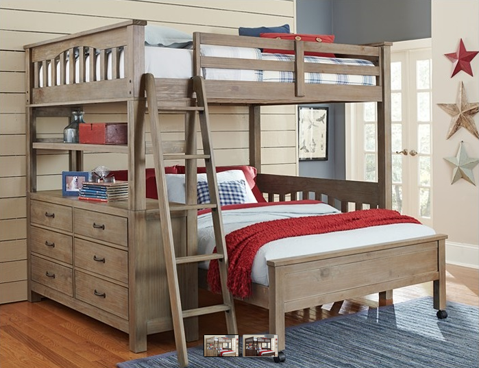 Kenwood Collection Loft With Bottom Bed In Driftwood