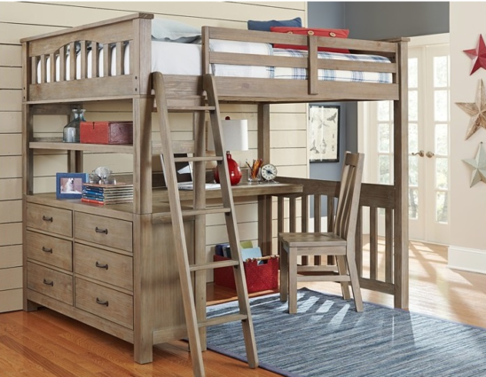 kenwood full size loft bed in driftwood with built in dresser