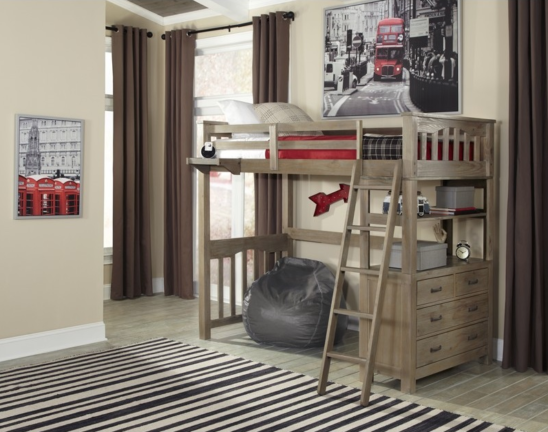 kenwood twin size loft bed in driftwood with built in dresser