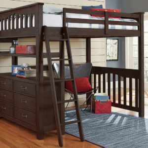 kenwood full size loft bed in espresso with built in dresser