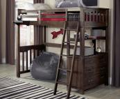 kenwood twin loft in espresso with built in dresser