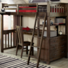 kenwood twin loft in espresso with built in dresser