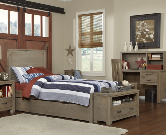 kenwood twin size trundle bed in driftwood with trundle