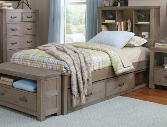 kenwood bookcase bed in driftwood