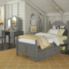 beach house twin size poster bed in gray finish with drawers