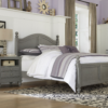 beach house full size poster bed in gray finish