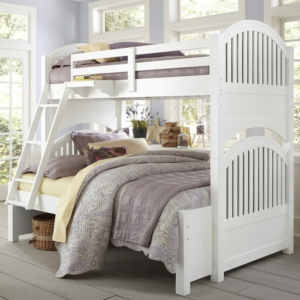 beach house twin over full round panel bunk bed in white finish