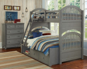 beach house twin over full round panel bunk bed in grey finish