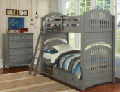 beach house twin over twin round panel bunk bed in grey finish