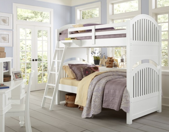 beach house twin over twin round panel bunk bed in white finish