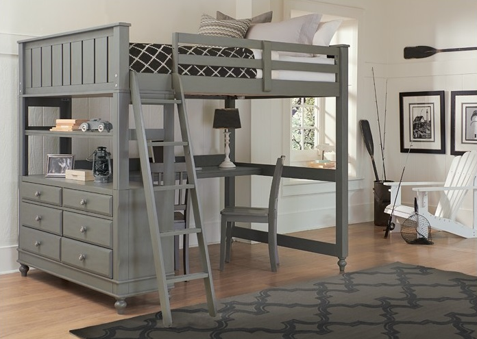 White Wood Loft Bed