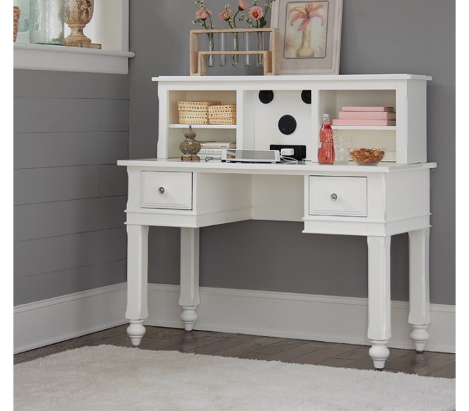 beach house desk with hutch in white