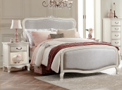 alexandria twin size upholstered bed in antique white