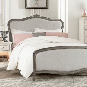 alexandria full size upholstered bed in antique silver