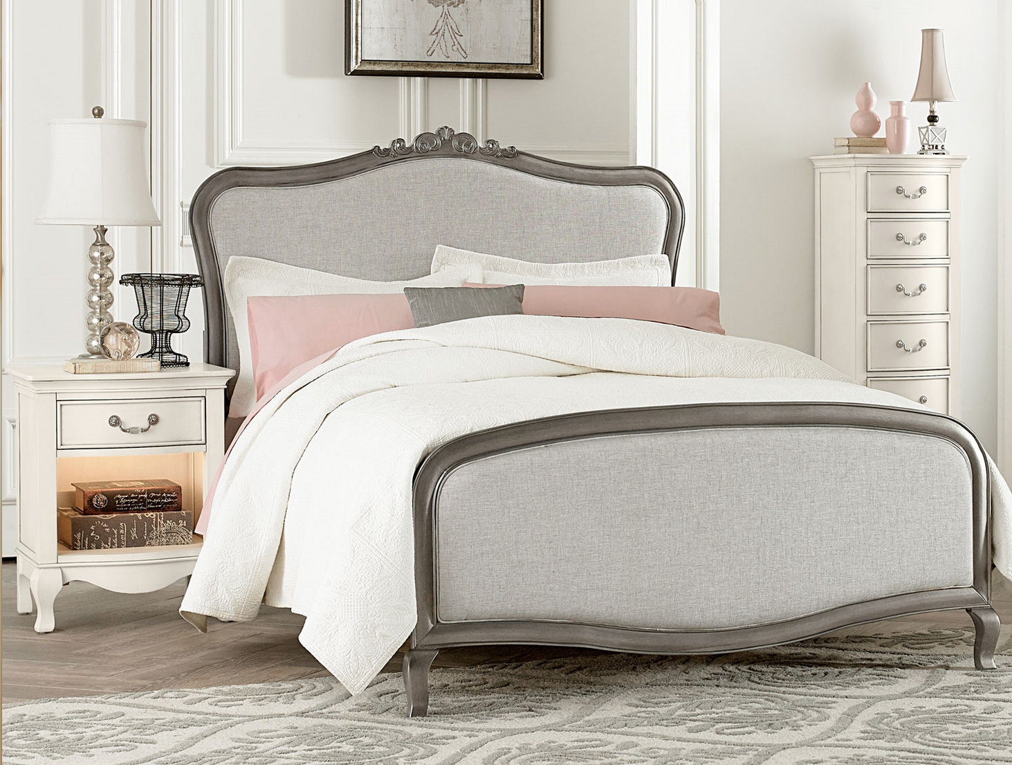 Alexandria Collection Full Size Upholstered Bed In Antique Silver .
