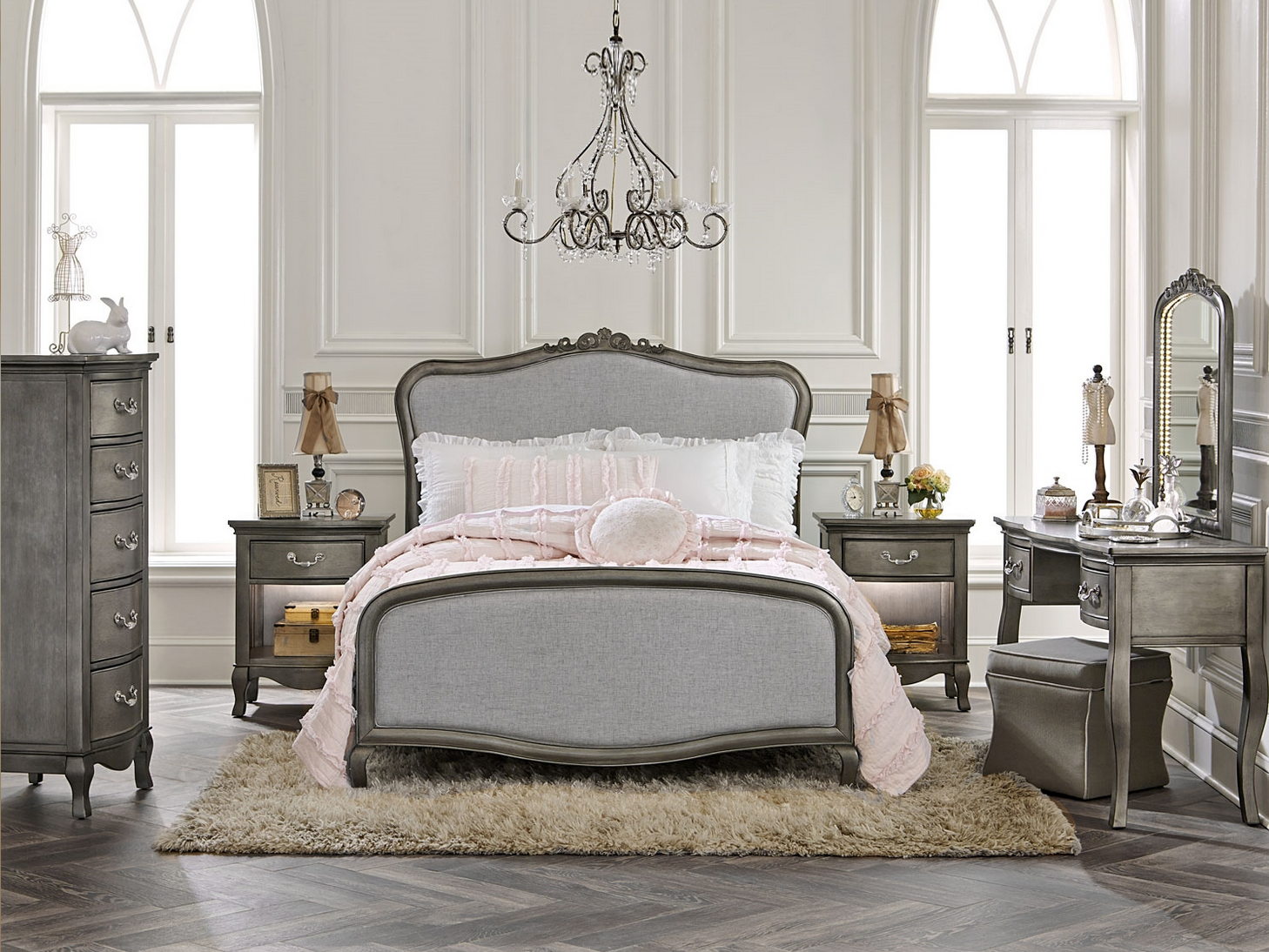 Nice Alexandria Full Size Upholstered Bed In Antique Silver