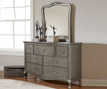 alexandria double dresser in antique silver