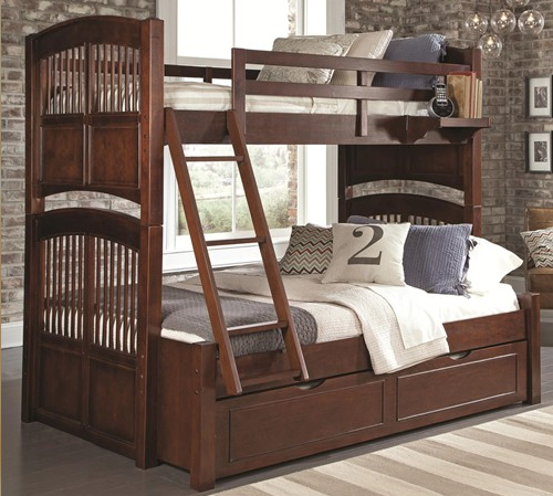 Walnut Street Collection Twin over Full Bunk Bed in Chestnut
