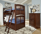 Walnut Street Collection Twin over Twin Bunk Bed in Chestnut