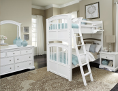 Walnut Street Collection Twin over Twin Bunk Bed in White