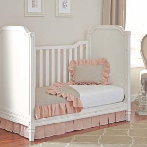 heavenly convertible upholstered crib in off white